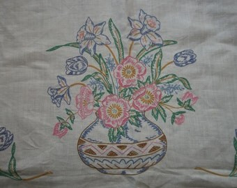 "Vintage Linen Tablecloth...Hand Embroidered...Excellent Condition..53""by 68"" Rectangle"