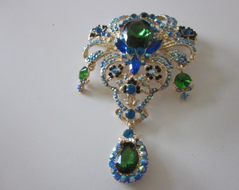 HUGE rhinestone jewel pin brooch large emerald pendant victorian style