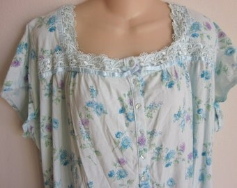 cotton nightgown cozy  button front prairie style plus size 3X XXL