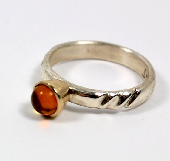 Engagement Ring - 18K Gold and Sterling Silver Ring - Hand Carved Ring - Amber Gemstone Ring