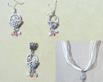 Pink Crystals & Silver Rose Basket Ribbon Pendant and Earrings Set, Handmade Original Fashion Jewelry, Elegant Classic Feminine Ladies Gift