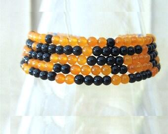 Black Jasper & Orange Jade Halloween Inspired Beaded Anklet, Handmade Original Design Fashion Jewelry, Fall Colors Dainty Simple Boot Anklet