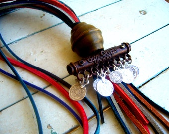 Tribal african necklace multistrand/coin necklace ethnic,traditional,folk/amulet necklace leather