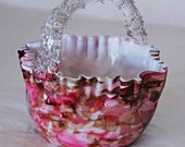 Antique 1892 Victorian BOHEMIAN PINK RHODONITE Cased Opaque White Art Glass Basket w/ Applied Thorn Handle Excellent Condition