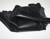 Italian Goatskin leather skins hides shiny rustic WASHED ANTIQUED BLACK 9sqf #A1287