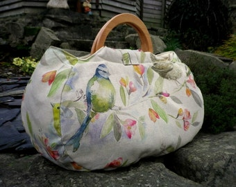 Large project bag. Bird fabric knitting bag.