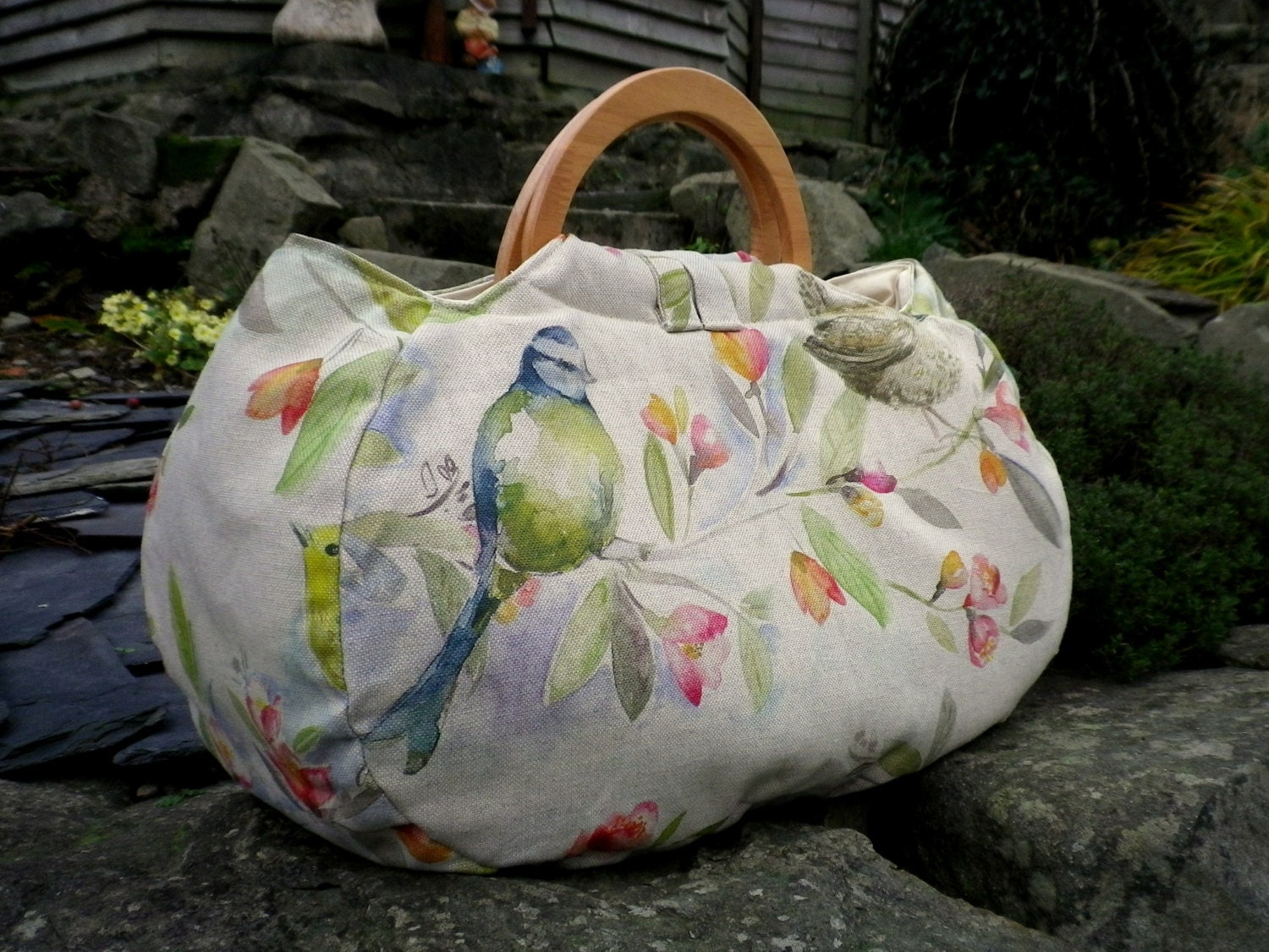 Knitting Project Bags Uk : Large project bag bird fabric knitting