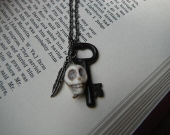 Handmade Vintage Inspired Skeleton Key - Skull Charm Necklace - Gothic Halloween Jewelry