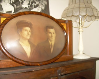 Antique Framed Oval Photo - Handsome Couple