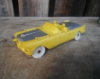 Vintage Cool Auburn Rubber Toy Car - Yellow Convertible - 1958 Cadillac