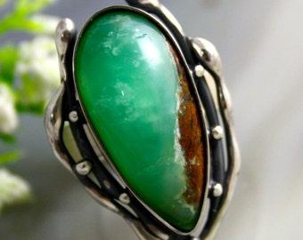 Chrysoprase Ring Green Stone Sterling Silver Ring