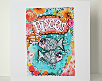 Beautiful Pisces birthday card, March birthday card.