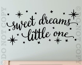 Sweet Dreams Little One Baby Nursery Wall Decal Vinyl Sticker Quote Boy Girl Bedroom