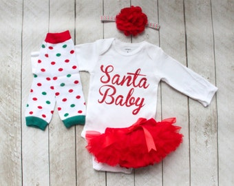 "Christmas ""Santa Baby"" Baby Girl Bodysuit, Ruffle Bottom Tutu Bloomer, Leg Warmer & Headband Set - Newborn Photo Set - Diaper Cover - Gift"