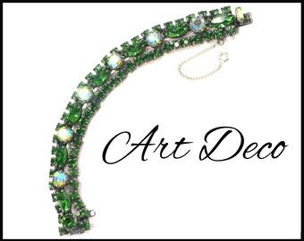AB & Green Rhinestone Bracelet, Aurora Borealis, Art Deco Green Bracelet, Wide AB Bracelet, 1920s Costume, 1930s Costume, Gift for Her