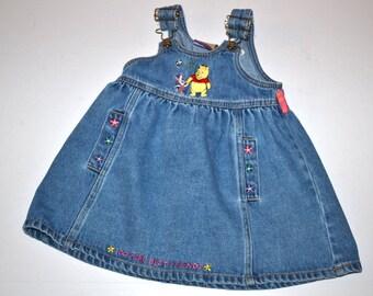 Vintage 90s Disney  Winnie the Pooh and Piglet denim dress, Disney 2T toddler dress, 100 acre collection, friends summer dress