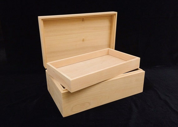 Unfinished Wood Box With Hinges Amp Tray 10 X 6 X 3 3 4 Handmade