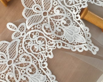 Venice Lace Trim in Ivory, Scallop Embroidery Lace Trim for Veils, Garters