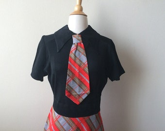 Vintage Dress Plaid Necktie