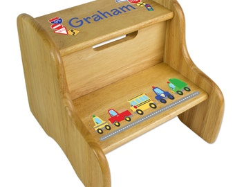 Personalized Cars u0026 Trucks Stool Custom Wood STEP Stools Transportation Vehicles Car Truck Police Boys Nursery  sc 1 st  Etsy : step stool for toddler - islam-shia.org