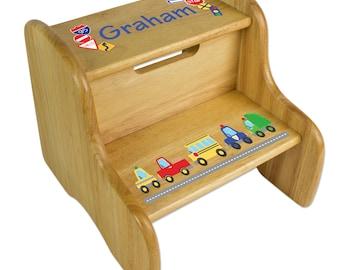 cars u0026 trucks stool custom wood step stools vehicles car truck police boys nursery