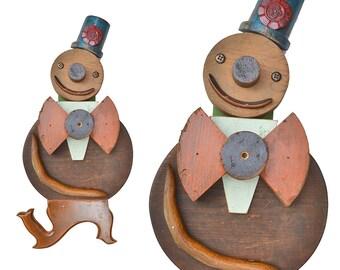 On HOLD.... Gingerbread Man, nursery decor, wood wall art, mixed media assemblage, found object art, nursery rhyme art by Elizabeth Rosen