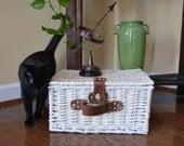 Vintage Wicker Trunk / Small Wicker Basket Trunk with Lid