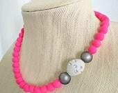 Hot Pink Statement Necklace Neon Asymmetrical Polka Dot