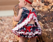 Ready to Ship size 6-12 Months Parley Ray Football Pinafore and Ruffled Bloomers / Diaper Cover / Photo Props
