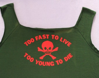 Too Fast To Live Too Young To Die - Sewater Vest-Punk Jumper-Vivienne Westwood-Skull Crossbones Pirate Print-Sleeveless-Green Jumper -XL 50""