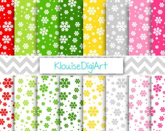 Winter Christmas Snowflakes Digital Papers in Green, Gold, Silver, Pink, Red, Holiday Festive Snowflakes Scrapbooking Patterns - 0130