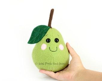 Pear Plush, Pear Stuffed Toy, Green Pear Plushie, Fruit Nursery Decor, Cute Kawaii Pear Soft Toy, Tropical Play Food, Pretend Play Softie