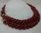"""Trifari Red Lucite Chain Link 28"""" Necklace Signed. Vintage."""