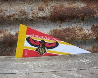 Vintage Basketball Pennant Atlanta Hawks Small 9 Inch 1990s Era NBA Mini Felt Pennant Banner Flag vtg Collectible Vintage Sports
