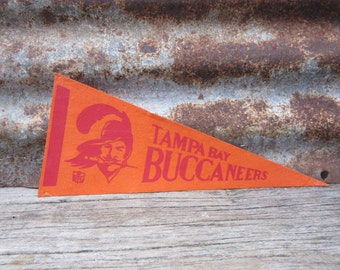 Vintage Tampa Bay Buccaneers Football Team 1970s Era NFL 11 Inch Mini Felt Pennant Banner Flag vtg Vintage Christmas Gift Stocking Stuffer