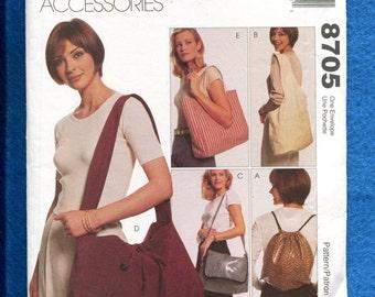 McCalls 8705 Hobo Tote Shoulder Bags & Backpack UNCUT