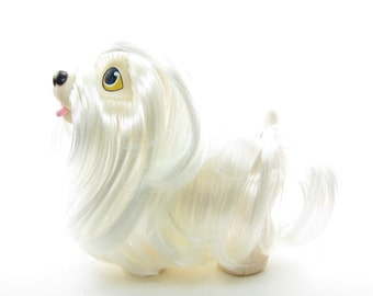 Maltese Sweetie Pups Toy Vintage Hasbro Dog with White Brushable Hair
