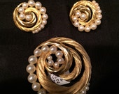 Signed Trifari brooch and earring set