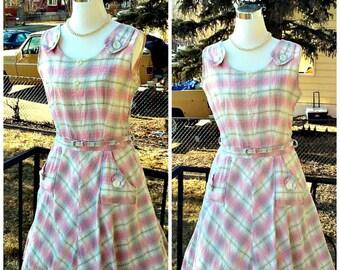 Vintage 1950s Pink Gold White Plaid Sun Dress Belt Rockabilly VLV Medium M