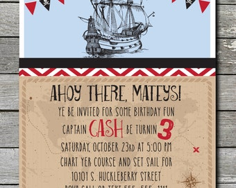 Ahoy Mateys Pirate Invitation (You Print)