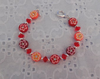 Colorful & Fun Beaded Toggle Bracelet w Polymere Clay Flower Beads Teens, Tweens and Women