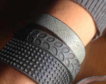 Industrial Inspired Cuff Bracelet in Black Gray and Concrete, Contemporary Jewelry, Wide Bracelet, Monochromatic, Designer Gift