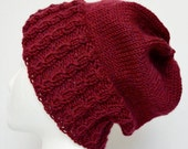 Cabled Winter Hat, Slouchy Wool Hat, Slouchy Beanie, Cabled Beanie, Burgundy, Knit Hat, Warm Winter Hat, Maroon Hat, Watch Cap