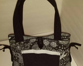Black and white (quilted) Bow Tucks Tote Bag (regular size - not the mini version)