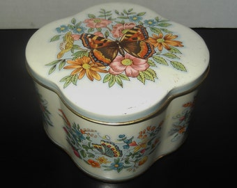 Vintage Tin Collectible Tin with Flowers and Butterflies The Tin Box Company