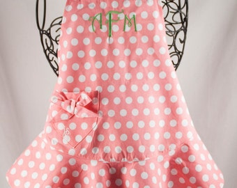 Monogrammed Apron Pink Polka Dot Child Size Jessie Steele - Personalized Kids Apron