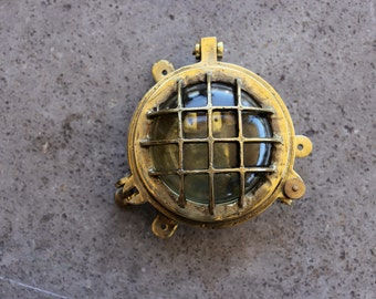 Brass Lantern Glass, Nautical, Beach Decor, Vintage Restored by SEASTYLE