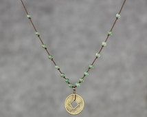 Antique coin charm jade collar necklace Bridesmaid gifts Free US Shipping handmade Anni designs