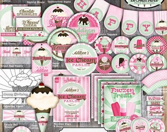 Ice Cream Party Decorations | Ice Cream Party | Ice Cream Birthday Party | Set Kit Collection | Toppers Banner Favor Tags Signs | Printable