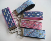 "4"" Inspired Vineyard Vines whale fabric - Choice of ONE - key fob key wristlet"